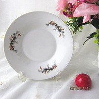white ceramic flat plate with decal