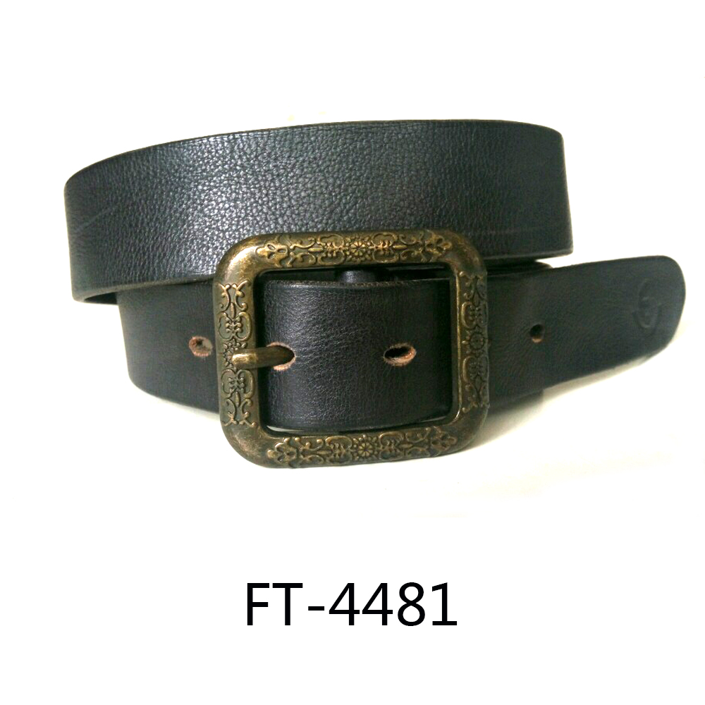 Hot Selling Top Brown Genuine Leather Belt with Alloy Pink Buckles