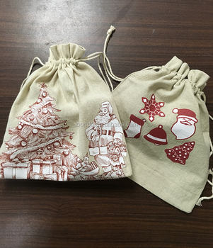 Handmade of 100% natural beige linen cloth Santa sack