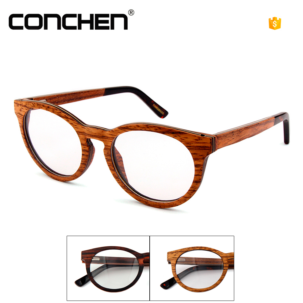 Wholesale custom logo wooden eyewear optical frame temple