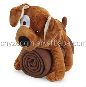 wholesale dog fleece blanket/plush fleece blanket with animal toys