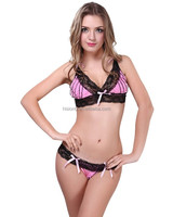 Pink Babydoll Plus Size Lingerie Set for Women Sexy Bra Set Sleepwear Sexy 2pcs Underwear Set for Mature Female with Thongs