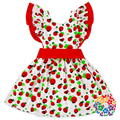 Strawberry Prints Little Girls Cotton Dress Kids Flutter Sleeve Summer Dress With Sash Beautiful Party Evening Casual Dresses