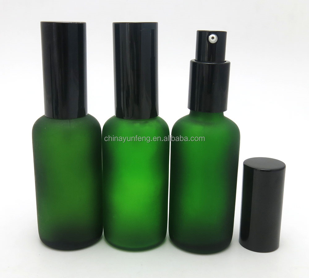 Empty 50ml frost cosmetic lotion pump top bottles for thick oil use