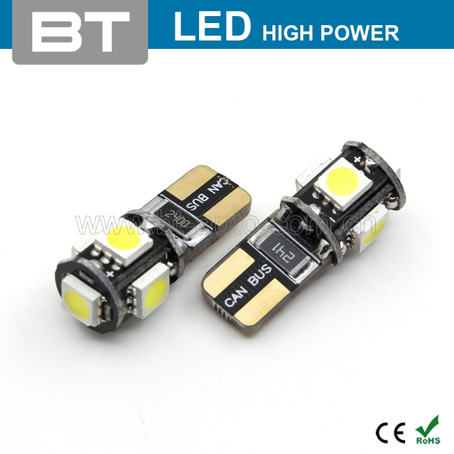 Auto Lighting System High Bright Auto Led Bulbs T10 5050 5Smd Canbus