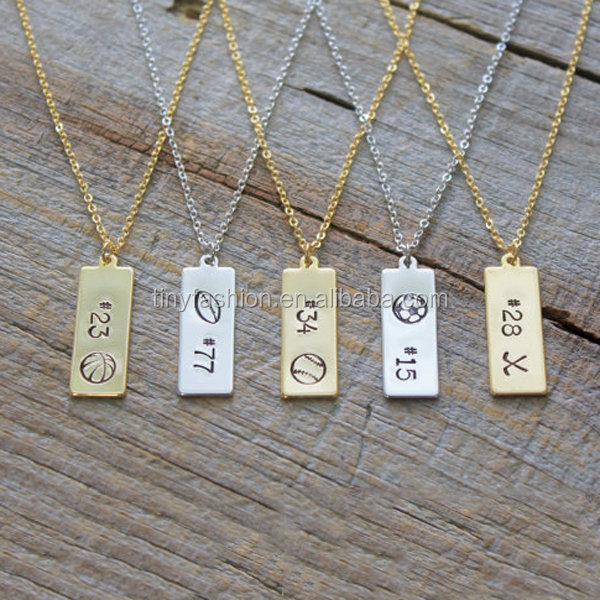 Sports Theme Personalized Team Spirit Pendant Soccer/Baseball/Football Hockey Engraved Necklace Football Mom Jewelry
