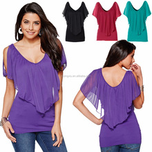 Women cheap slim short sleeve chiffon design t shirt