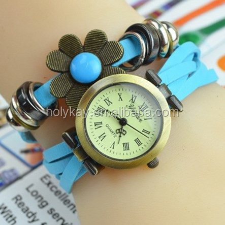 2015 High quality sun flower leather wrist bracelet watch for lady