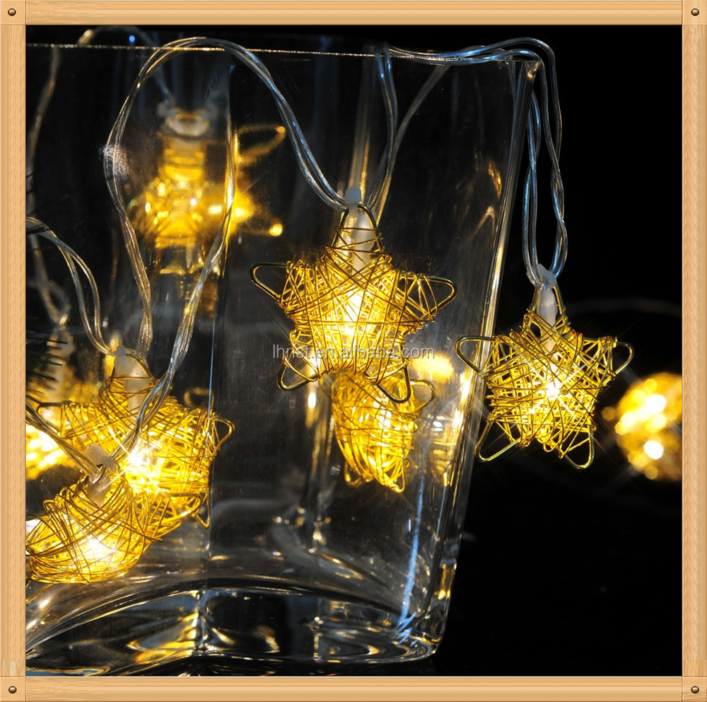 2016 new arrival home decoration led metal star timed battery operated powder string /fairy /garland light