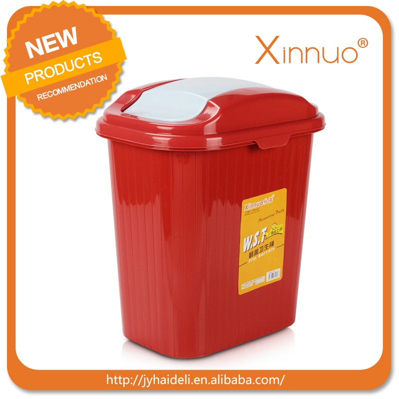 Household colorful plastic waste bin with top lid Eco-friendly waste basket