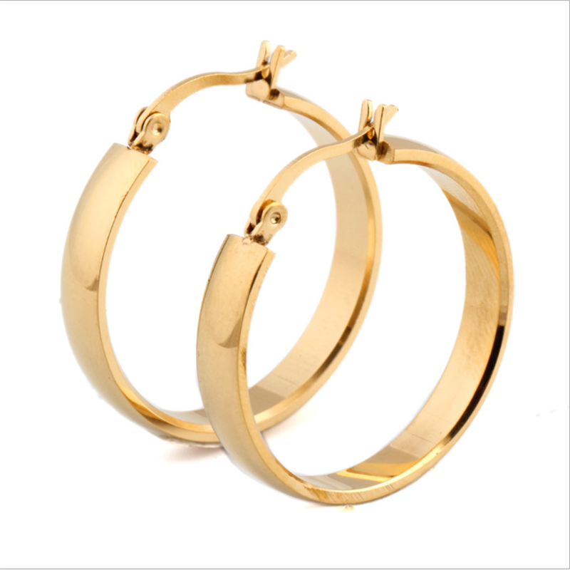 Wholesale cheap women jewelry earring 18 <strong>k</strong> gold plated stainless steel hoop earring