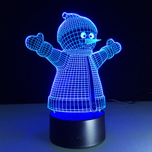 2016 Christmas best gift for kids 3D Illusion table lamp Energy saving light beads USB touch night light LED Snowman desk lamp