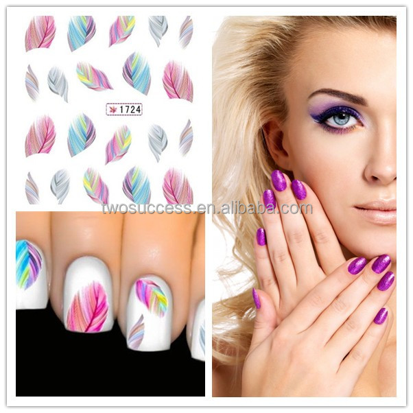 Wholesale Colorful Feather Pattern Water Transfer UV Gel Nail Polish Sticker Decal Designs Nail Art Stickers