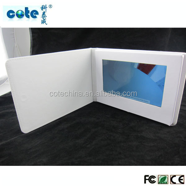 Fashion 7'' etc. LCD PU/Leather OEM Video brochure, video card optical input