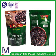 Stand up - transparent pouch vacuum metallized plastic bag with zipper