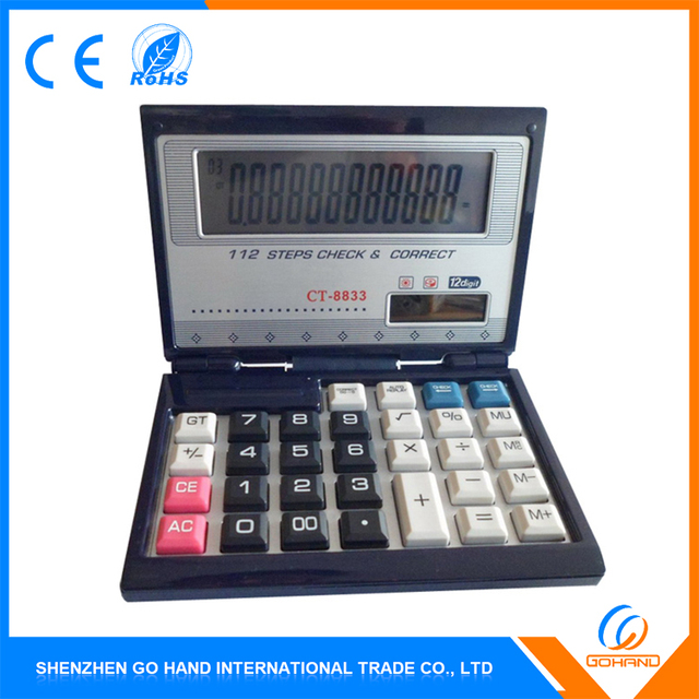 Wholesale Beautiful Gift 12 Digits Solar Energy Electronic Foldable Calculator