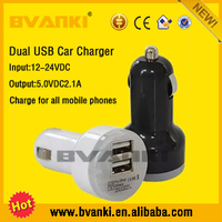 LED Light Displayed+Quick Charge 2.0 2 usb ports electric car Charger for All USB Charger Devices