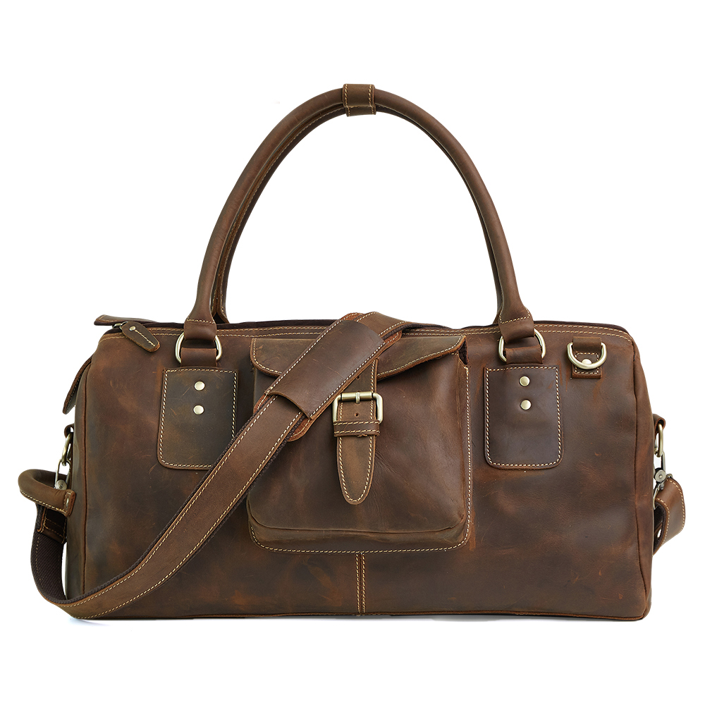 daa9c14fd6 OXLEAZ Crazy Horse Leather Weekender Bag Men s Big  strong Duffle  strong