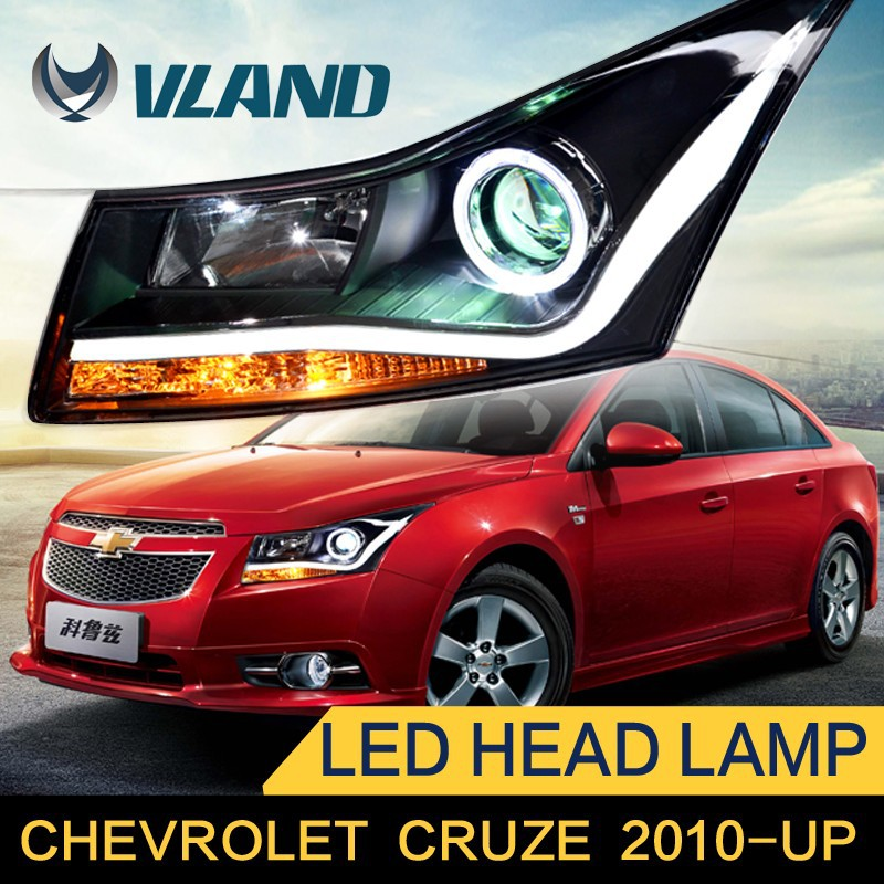 Fast Delivery HID projector headlight with new type brighter light bar for Chevry cruze angel eye headlight
