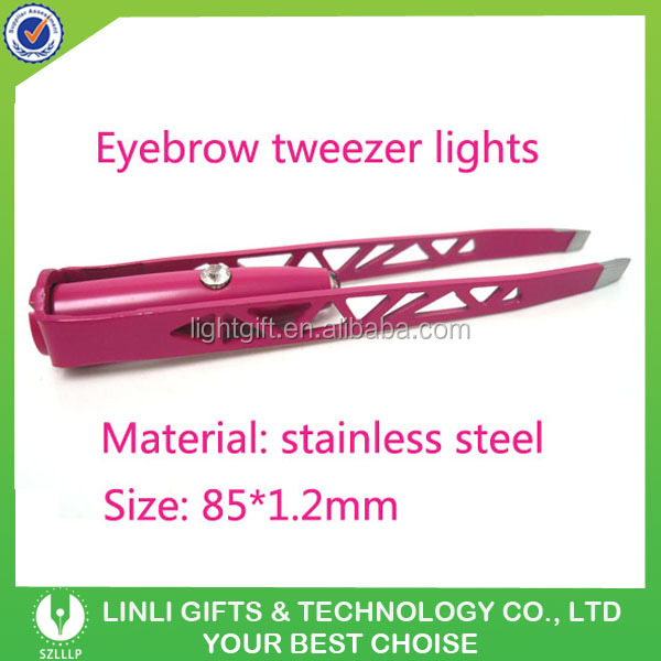 Popular Makeup Tools Stainless Steel LED Electric Eyebrow Tweezers for Women