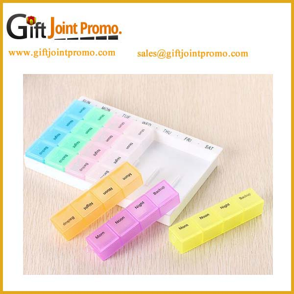 Promotional customized travel 7 day locking pill/vitamin organizer