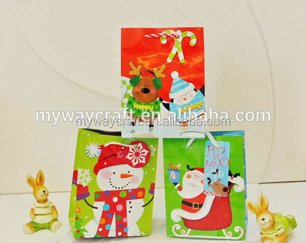 glossy lamination colorful paper christmas gift bag/carrier bags