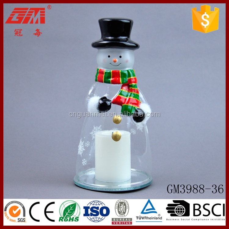 Xmas glass snowman led candle