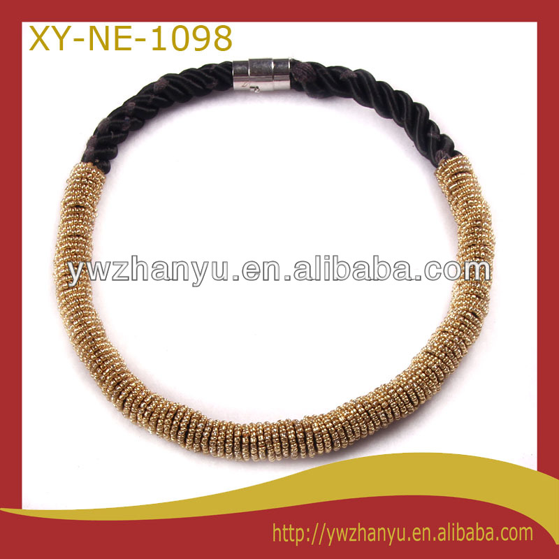 fashion yellow mini beads strand black rope charm collar for women