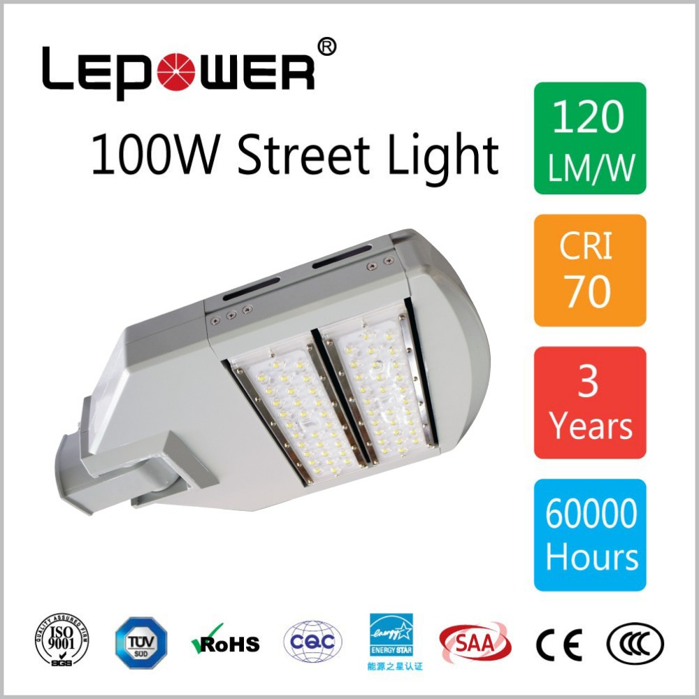 100W LED Street Light IP67, 14000Lumen, Bridgelux Chip, Meanwell driver