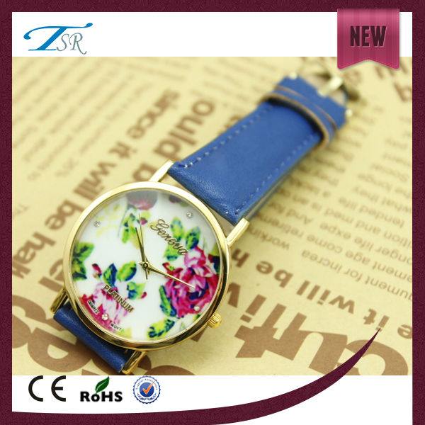 korean style watch fashion colorful leather strap popular in Mid East and Europe