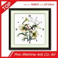 Lily flower cross stich wall clock 100% DIY handmade embroidery