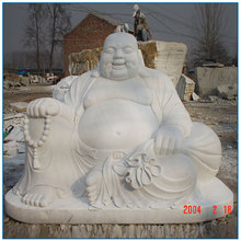 Chinese Life Size White Marble Laughing Buddha Statue