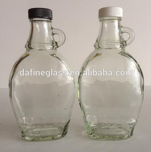 Wholesale flat maple syrup glass bottle, oilve oil glass bottle with glass handle