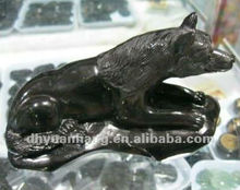 Natural obsidian stone quartz crystal wolf sculpture for decoration,obsidian stone price
