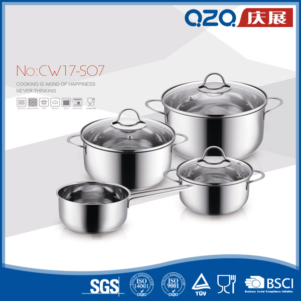 Food grade material factory price 7pcs stainless steel german cookware pot