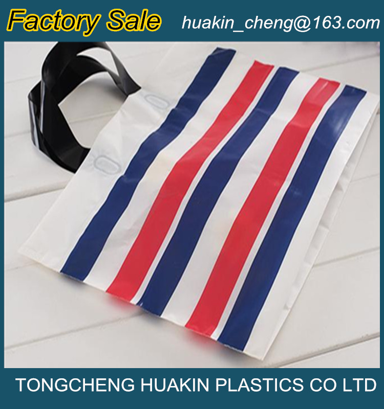 high quality printing plastic shopping soft loop handle bags made in China