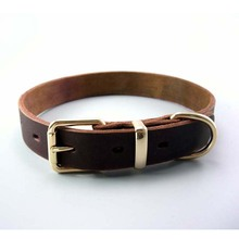 Handmade Band 2.5/3.0/3.5cm Durable plain Pet Cow Leather Dog Collar