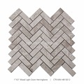 "1""*3"" Wood Light Grain Polish Marble Herringbone Mosaic Tile For Bathroom Wall"