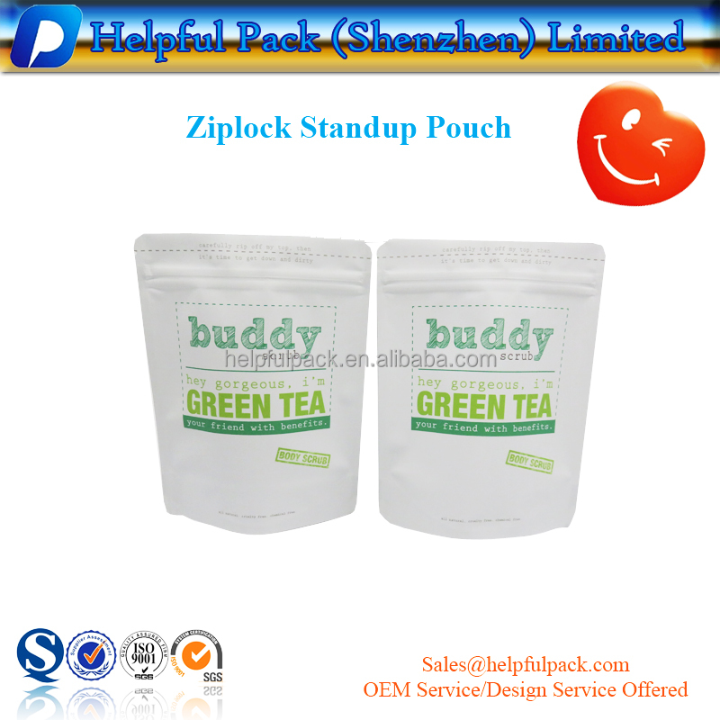 200g body scrub packing standup pouch customized printed zipper mylar bag resealable aluminum foil packaging bags