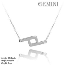 NZA-1003 The Zodiac 12 Constellations Jewelry Design Gemini Sign Necklace Different Color CZ Stone