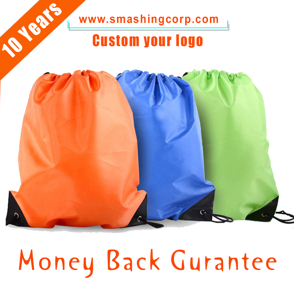 Top Sal ecustom Logo Printed Sport Backpack Nylon Polyester Drawstring Bag with Alibaba trade assurance