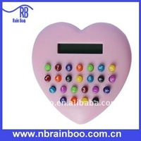 8 digital color button heart shape calculator for promotion gifts