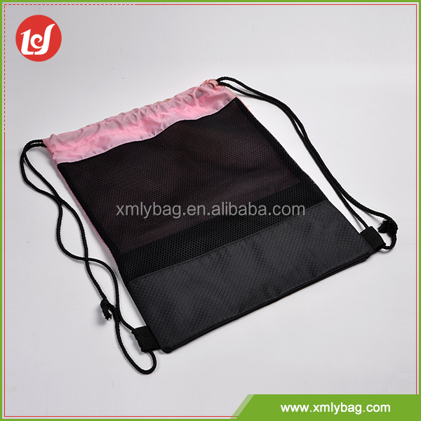 Reusable polyester mesh inside daily drawstring sports bag