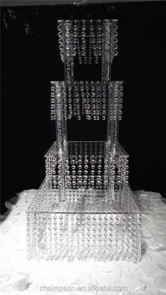 Hot sale square acrylic cake stand with different sizes for wedding table decoration