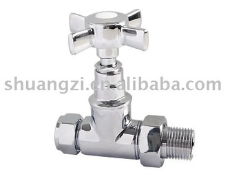 Polished Chrome Traditional Angle Style Brass Radiator Valve