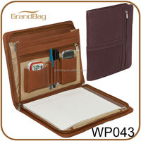 Three-Way A4 leather portfolio / padfolio, executive leather folder for conference