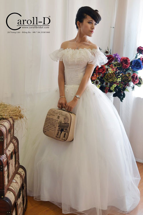 Off Shoulder White Lace Bridal Wedding Dress New Design 2014