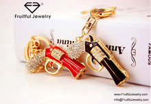 3D gold plating black and red gun shaped keychain custom crystal metal keyring for men