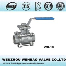WB-10 Stainless steel A351 CF8 CF8M 3pc ball valve /1000 wog Floating ball valve stem with ISO plate
