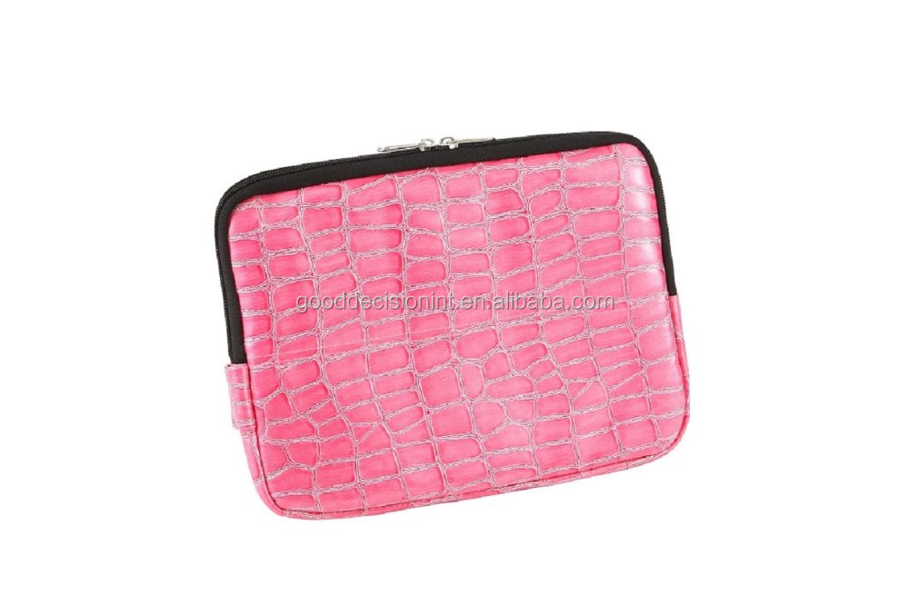 Croco Pattern PVC Tablet Case With Zipper Closure